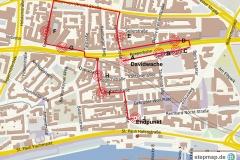 Übersichtskarte Kriminaltour St. Pauli